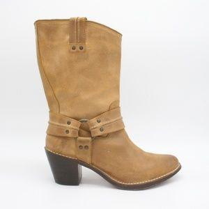 FRYE Carmen Harness Short Boot Tan Sand 10